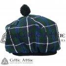 New Handmade Scottish Tam o' shanter Flat Bonnet Hat / Tammie Cap In Clan Tartan Blue Douglas