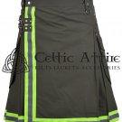 32 Inches waist Firefighter Kilt - Fireman Kilt - Modern Cargo Pockets Kilt Olive Green