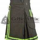 34 Inches waist Firefighter Kilt - Fireman Kilt - Modern Cargo Pockets Kilt Olive Green