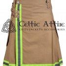 48 Inches waist Firefighter Kilt Fireman Kilt Tactical Utility Kilt Modern Cargo Pockets Kilt Khaki