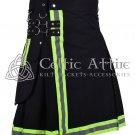 34 Inches waist Firefighter Kilt Fireman Kilt Tactical Utility Kilt Modern Cargo Pockets Kilt Black