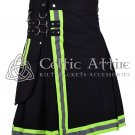 48 Inches waist Firefighter Kilt Fireman Kilt Tactical Utility Kilt Modern Cargo Pockets Kilt Black