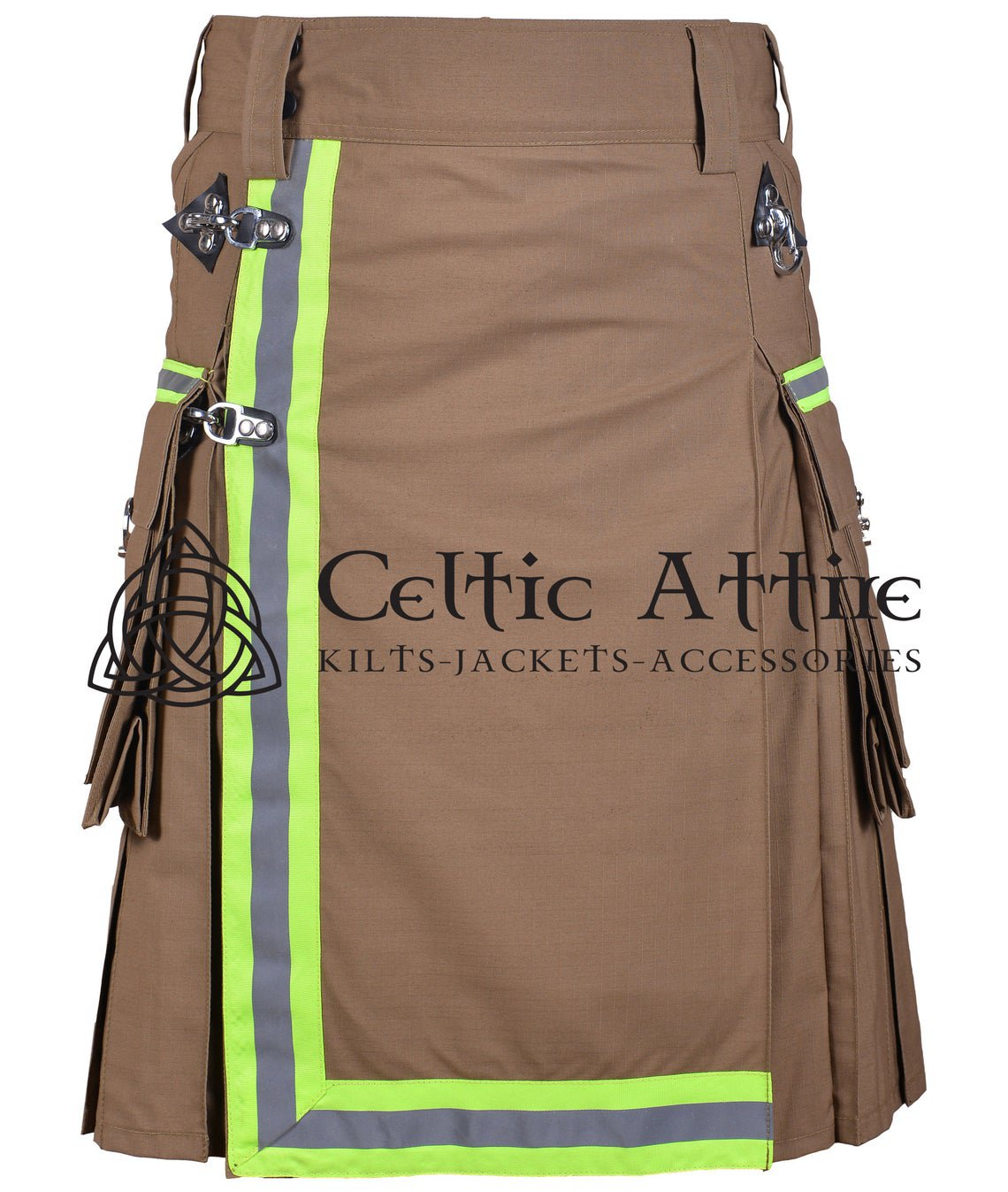 38 Inches waist Scottish Utility Kilt For Men - Fireman Kilt - Fire Department Kilt Khaki