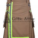 46 Inches waist Scottish Utility Kilt For Men - Fireman Kilt - Fire Department Kilt Khaki