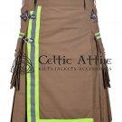 50 Inches waist Scottish Utility Kilt For Men - Fireman Kilt - Fire Department Kilt Khaki
