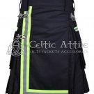 34 Inches waist Scottish Utility Kilt For Men - Fireman Kilt - Fire Department Kilt Black
