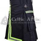 46 Inches waist Scottish Utility Kilt For Men - Fireman Kilt - Fire Department Kilt Black