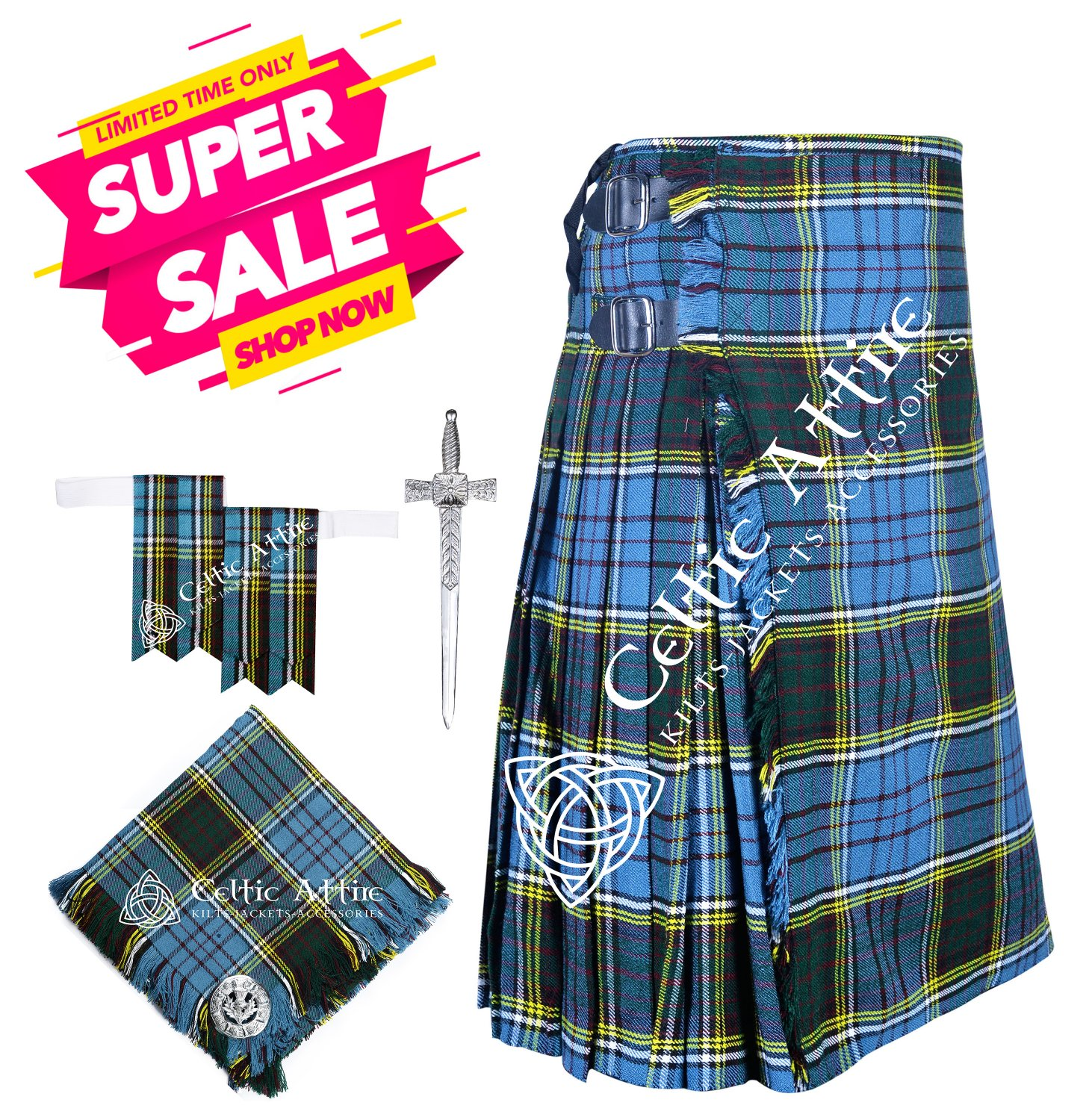 Scottish 8 Yard Tartan Kilt and Accessories Package Size 46 Anderson Tartan