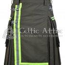 32 Inches waist Scottish Utility Kilt For Men - Fireman Kilt - Fire Department Kilt Olive Green