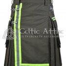 48 Inches waist Scottish Utility Kilt For Men - Fireman Kilt - Fire Department Kilt Olive Green