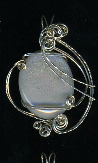 Opal Dichroic Sterling Silver Sclupted Pendant