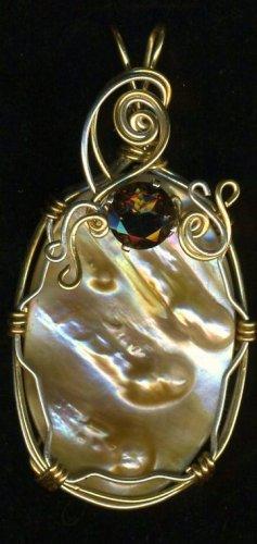 Blistered Pearl Pendant & 2 ct Garnet