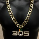 Custom Jeweler Made Miami Hurricanes Turnover 305 Chain 14K Gold GP Necklace NEW