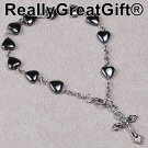 Catholic Rosary BRACELET - Heart Shaped Hermatite - 8 mm