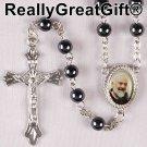 Hematite ROSARY - Round beads with St. Padre Pio center piece