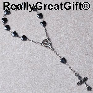 Catholic Rosary for your CAR - Heart Shaped Hermatite - 8 mm