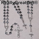 Set of 3 (THREE): ROSARY, BRACELET & Small ROSARY for your Car - Hematite - SPECIAL OFFER