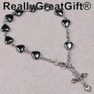 TWO (2) Catholic Rosary BRACELET Lot - Heart Shaped Hematite - 8 mm - NEW
