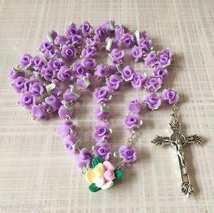 Catholic ROSARY-PURPLE Rose Flower soft Ceramic bead with a Crucifix - NEW