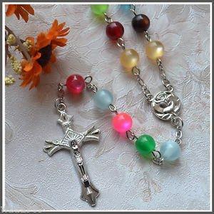 Catholic ROSARY - Multicolor Cat Eye Beads - New