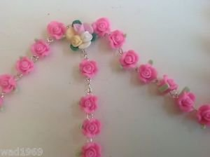 Catholic ROSARY-PINK Rose Flower soft Ceramic bead with a Crucifix - NEW