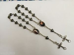 Divine Mercy Rosary for Car � Heart Shaped Hematite beads -Lot of two (2) - NEW