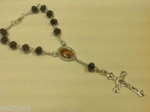 Beautiful Rosary for Car Rear View Mirror with Medal and a Cross - NEW