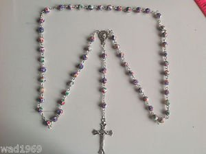 Catholic ROSARY - Round Flowered Clay beads with Mother Mary - WHITE - NEW