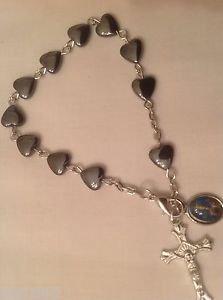 The Crucifix BRACELET - Heart Shaped Hematite bead - 8 mm - NEW