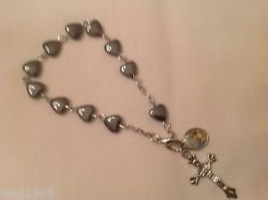 Holy Family BRACELET - Heart Shaped Hematite bead - 8 mm - NEW