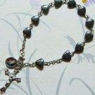 Divine Mercy Rosary BRACELET - Heart Shaped Hematite bead - 8 mm - NEW