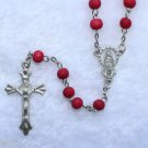Catholic ROSARY - Round Red wood beads with Our Blessed Mother as center piece