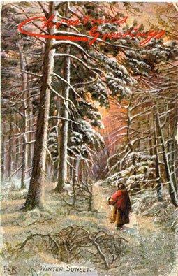 Vintage Postcard - 1908 Christmas Greetings - Winter Sunset