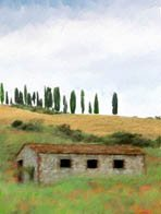 Tuscany Countryside watercolor greeting card - 8 5 inch by 7 inch cards come with 8 envelopes