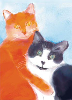 Cat Greeting Cards - Two Cats Hugging - 8 5-inch x 7-inch Watercolor greeting cards with 8 envelopes