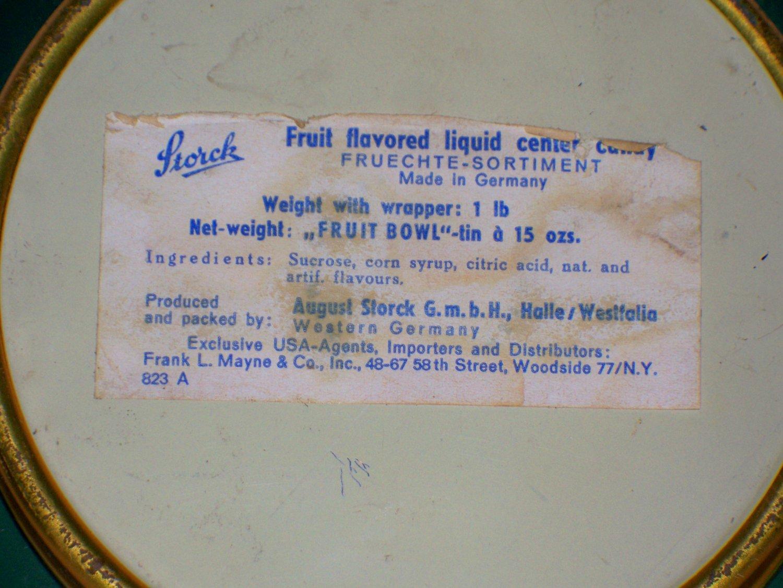 Vintage Storck Fruit Bowl Tin Western Germany August Storck