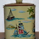 1960 S.L.K. Co. Inc. Boat themed square tin used and empty