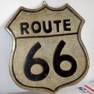 Route 66 brass colored sign used could be solid brass wall hanger