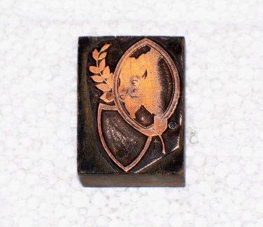Buffalo head & shield copper printing block letterpress used