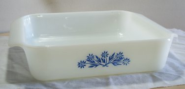 """Anchor Hocking Fire King Blue Cornflower 8"""" uncovered casserole dish used"""