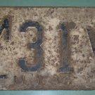 New Jersey 1944 License Plate ML 31 V used vintage World War II Era low number