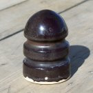 Brown ceramic / porcelain bullet type insulator used no markings