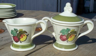 Poppytrail by Metlox Provincial Fruit Sugar and Creamer set Made in California