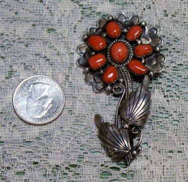 D. Benally Sterling Brooch possible red coral stones?