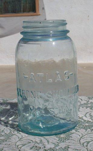 Atlas Strong Shoulder Mason canning or fruit jar quart size used aqua?