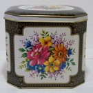 Hinged Collectible Metal Tin Container Made in England 8 sided tin (T100)