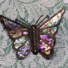 Abalone Shell Butterfly Brooch Pin marked Taxco? unknown maker nice color