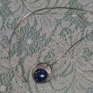 Lapis Lazuli Sterling chain marked 925 pendant necklace marked P T D? on back