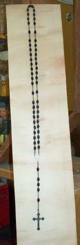 """Silver colored rosary Italy wood beads 18"""" long used needs a polishing"""