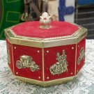 Stage Coach Victorian Couple Red Felt and Gold colored metal tin canister
